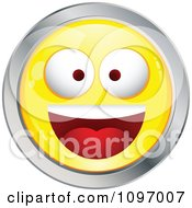 Clipart Yellow And Chrome Cartoon Smiley Emoticon Happy Face 5 Royalty Free Vector Illustration