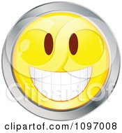 Clipart Yellow And Chrome Cartoon Smiley Emoticon Happy Face 6 Royalty Free Vector Illustration