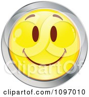 Clipart Yellow And Chrome Cartoon Smiley Emoticon Happy Face 8 Royalty Free Vector Illustration