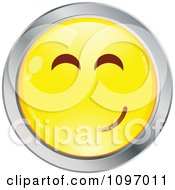 Clipart Yellow And Chrome Cartoon Smiley Emoticon Happy Face 9 Royalty Free Vector Illustration