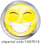 Clipart Yellow And Chrome Cartoon Smiley Emoticon Happy Face 11 Royalty Free Vector Illustration