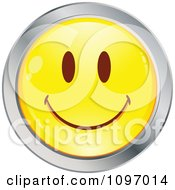 Clipart Yellow And Chrome Cartoon Smiley Emoticon Happy Face 12 Royalty Free Vector Illustration