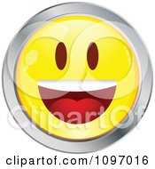 Clipart Yellow And Chrome Cartoon Smiley Emoticon Happy Face 13 Royalty Free Vector Illustration