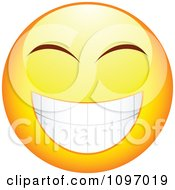 Clipart Yellow Cartoon Smiley Emoticon Happy Face 4 Royalty Free Vector Illustration by beboy