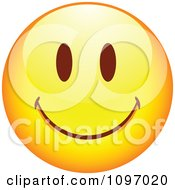 Clipart Yellow Cartoon Smiley Emoticon Happy Face 5 Royalty Free Vector Illustration