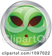 Clipart Green And Chrome Alien Cartoon Smiley Emoticon Face Royalty Free Vector Illustration