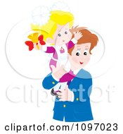 Clipart Happy Father Holding His Little Girl As She Rings A Bell Royalty Free Vector Illustration by Alex Bannykh