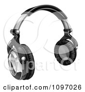 Clipart 3d Audio Headphones In Black And Silver Royalty Free Vector Illustration