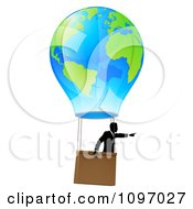 Clipart Businessman Pointing And Floating In A World Hot Air Balloon Royalty Free Vector Illustration