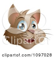 Clipart Happy Brown Cat Face Royalty Free Vector Illustration by AtStockIllustration