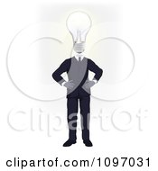 Clipart Businessman With A Lightbulb Head Standing With His Hands On His Hips Royalty Free Vector Illustration by AtStockIllustration