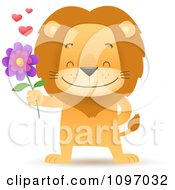 Clipart Sweet Romantic Lion Holding Out A Flower Royalty Free Vector Illustration by Qiun