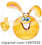 Clipart Happy Easter Bunny Rabbit Emoticon Holding A Thumb Up Royalty Free Vector Illustration