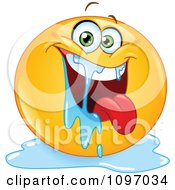 Clipart Happy Drooling Emoticon Royalty Free Vector Illustration