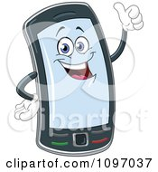 Clipart Happy Cell Phone Character Holding A Thumb Up Royalty Free Vector Illustration