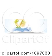Watercolor Painted Banner Of Palm Trees