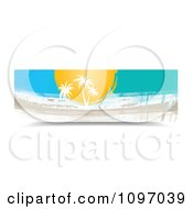 Clipart Banner Of Palm Trees And Painted Streaks Royalty Free Vector Illustration by MilsiArt