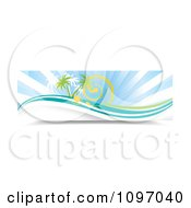 Clipart Banner Of Sun Rays Swirls Waves And Palm Trees Royalty Free Vector Illustration