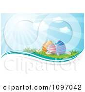 Clipart Colorful Easter Eggs In Grass With Wildflowers And Sunshine Royalty Free Vector Illustration by MilsiArt