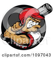 Clipart Buff Baseball Athlete In A Helmet Ready To Swing A Bat Over A Gray And Black Circle Royalty Free Vector Illustration