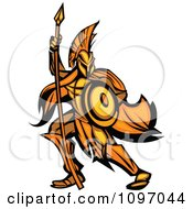 Gold And Orange Spartan Warrior Armed With A Spear And Shield