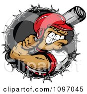 Clipart Buff Baseball Player In A Helmet Ready To Swing A Bat Over A Barbed Wire Circle Royalty Free Vector Illustration
