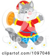 Clipart Happy Cat In Clothes Walking Upright And Holding Bread Royalty Free Vector Illustration