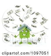 Clipart 3d Green Solar Clay Home Surrounded By Cash 1 Royalty Free CGI Illustration by Julos