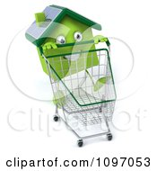 Clipart 3d Solar Green Clay Home Pushing A Shopping Cart 3 Royalty Free CGI Illustration