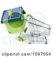 Clipart 3d Solar Green Clay Home Pushing A Shopping Cart 4 Royalty Free CGI Illustration