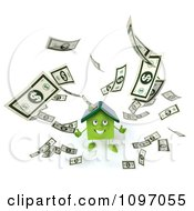 Clipart 3d Green Solar Clay Home Surrounded By Cash 2 Royalty Free CGI Illustration
