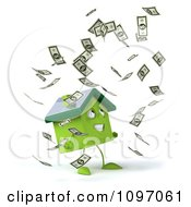 Clipart 3d Green Solar Clay Home Surrounded By Cash 3 Royalty Free CGI Illustration