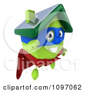 Clipart 3d Super Solar Green Clay Home In Flight 1 Royalty Free CGI Illustration by Julos
