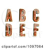 Clipart 3d Theatre Light Alphabet Set A Through F Royalty Free CGI Illustration by stockillustrations