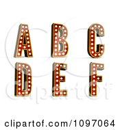 Clipart 3d Theatre Light Alphabet Set A Through F Royalty Free CGI Illustration by stockillustrations