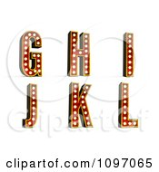 Clipart 3d Theatre Light Alphabet Set G Through L Royalty Free CGI Illustration