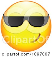 Clipart Cool Yellow Cartoon Smiley Emoticon Face Wearing Sunglasses 1 Royalty Free Vector Illustration