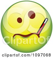 Clipart Sick Green Cartoon Smiley Emoticon Face With A Thermometer Royalty Free Vector Illustration