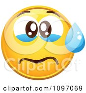 Clipart Crying Yellow Cartoon Smiley Emoticon Face 2 Royalty Free Vector Illustration