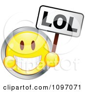 Clipart Yellow And Chrome Cartoon Smiley Emoticon Face Laughing And Holding An Lol Sign Royalty Free Vector Illustration