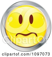 Clipart Yellow And Chrome Worried Cartoon Smiley Emoticon Face 1 Royalty Free Vector Illustration