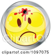 Clipart Shot Yellow And Chrome Cartoon Smiley Emoticon Face 2 Royalty Free Vector Illustration