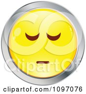 Clipart Depressed Yellow And Chrome Cartoon Smiley Emoticon Face Royalty Free Vector Illustration