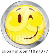 Clipart Flirty Winking Yellow And Chrome Cartoon Smiley Emoticon Face 3 Royalty Free Vector Illustration