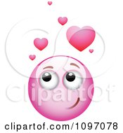 Clipart Infatuated Pink Emoticon Smiley Face Royalty Free Vector Illustration