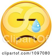 Clipart Crying Yellow Cartoon Smiley Emoticon Face 6 Royalty Free Vector Illustration
