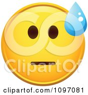 Clipart Crying Yellow Cartoon Smiley Emoticon Face 7 Royalty Free Vector Illustration