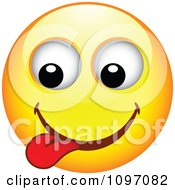 Clipart Yellow Goofy Cartoon Smiley Emoticon Face 5 Royalty Free Vector Illustration