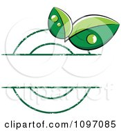 Grungy Green Ecology Or Bio Dewy Leaf Label With Copyspace
