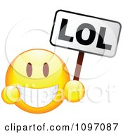 Clipart Grinning Yellow Emoticon Smiley Face Holding An LOL Sign Royalty Free Vector Illustration